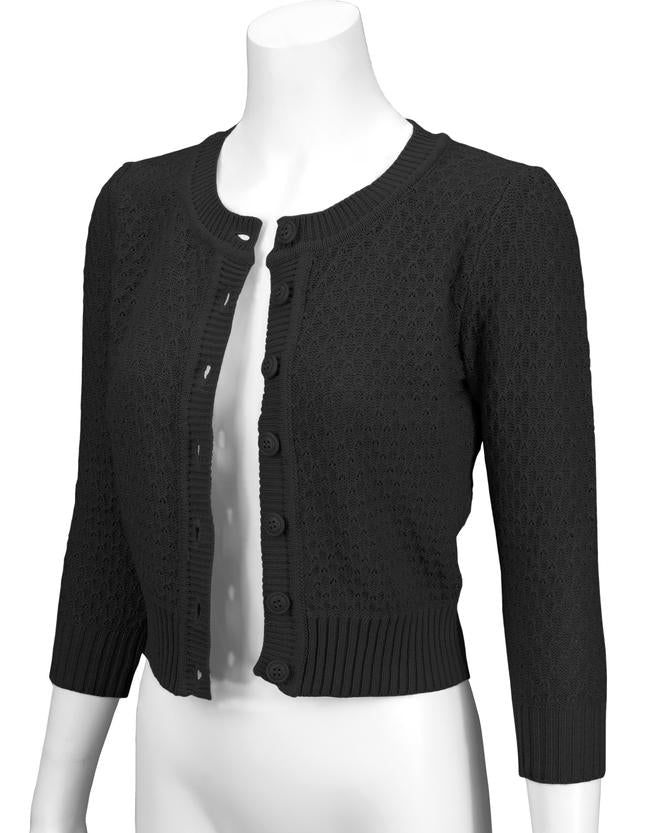 Angela Vintage Cardigan - Black