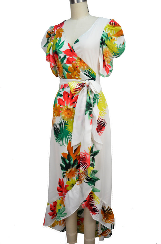 Carmen Wrap Dress - Tropical Print