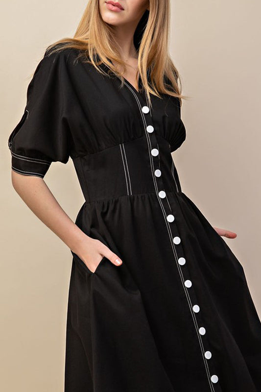 Cierra Day Dress - Black