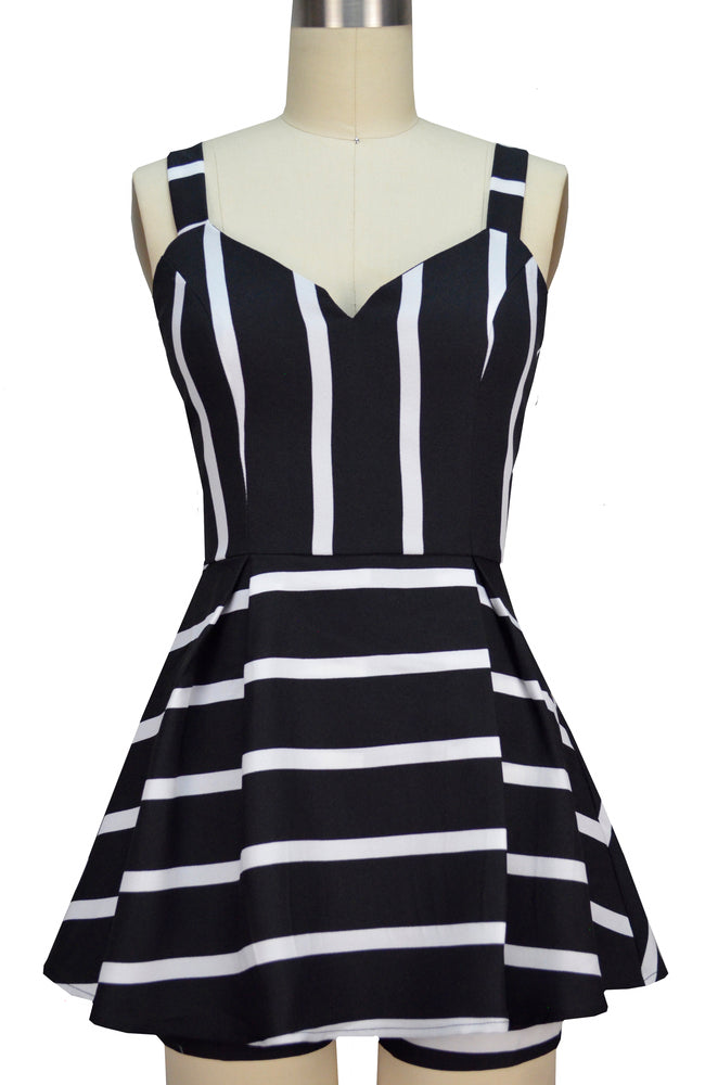 Emily Romper - Black & White Stripe