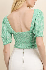 Katie Top - Apple Green Gingham