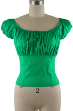 Daisy Peasant Top - Solid Green