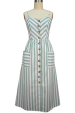 Layla Sun Dress - Sage Stripe