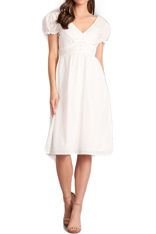 Leah Day Dress - White Eyelet