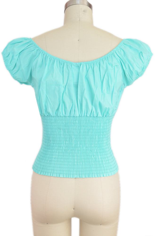 Daisy Peasant Top - Solid Mint