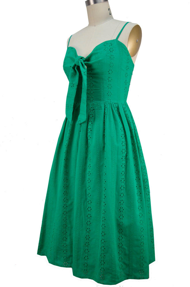 Nora Sun Dress - Green Eyelet