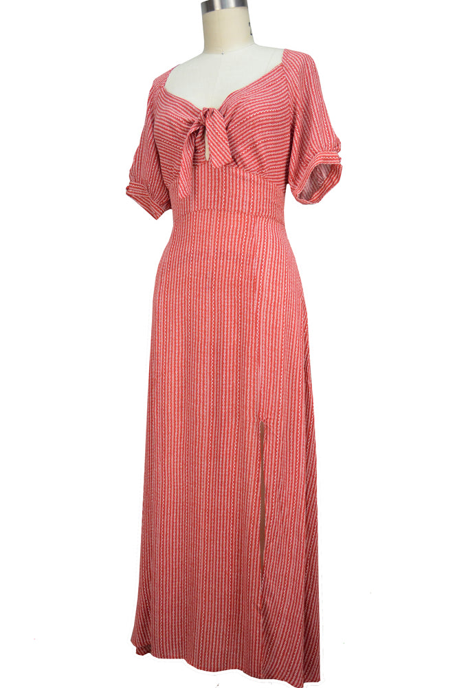 Olivia Day Dress - Brick Red Stripe
