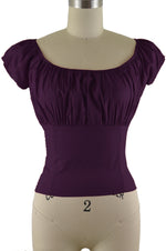 Daisy Peasant Top - Solid Purple