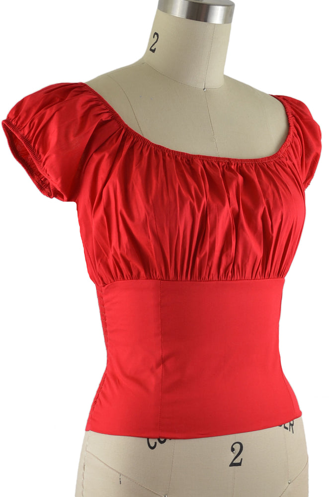 Daisy Peasant Top - Solid Red