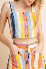 Susie Crop Top - Multi-Stripe