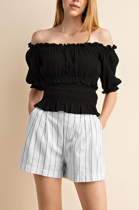 Thea Peasant Top - Black