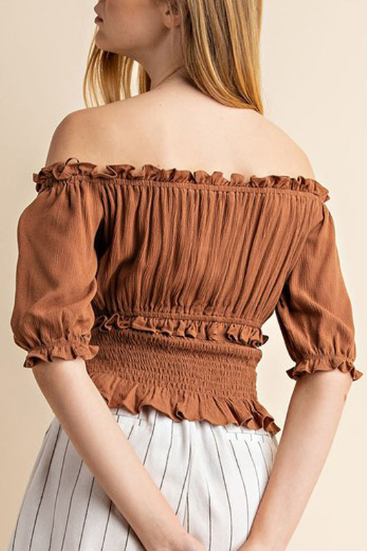 Thea Peasant Top - Toffee