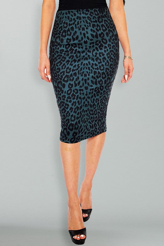 Victoria Pencil Skirt - Teal Leopard