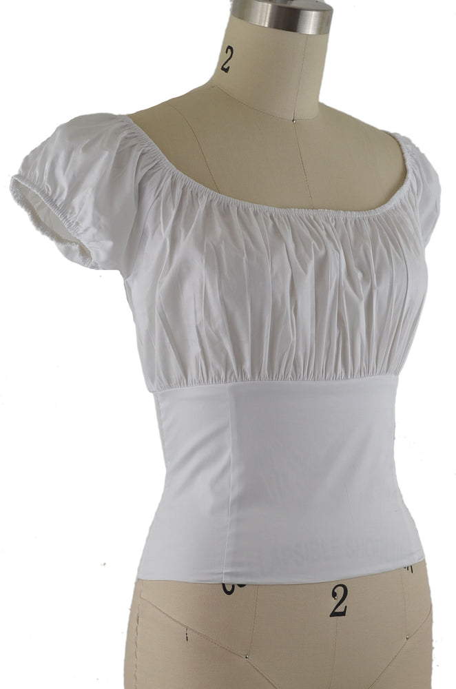 Daisy Peasant Top - Solid White