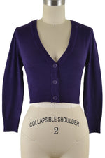 Jenny Cropped Cardigan - Grape