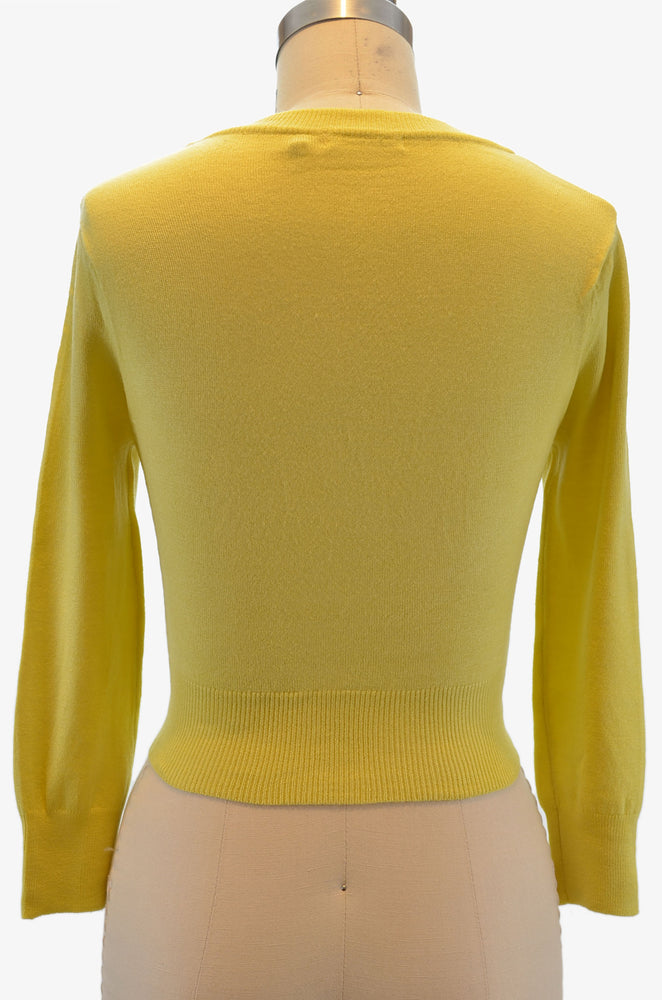 Jenny Cropped Cardigan - Baby Yellow