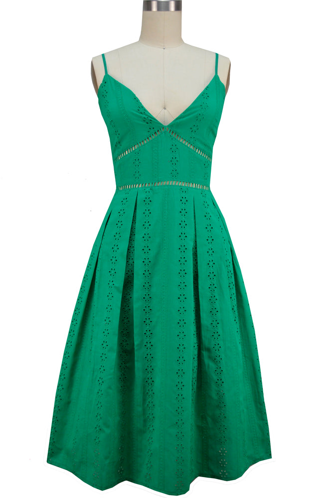 Zoey Sun Dress - Green Eyelet