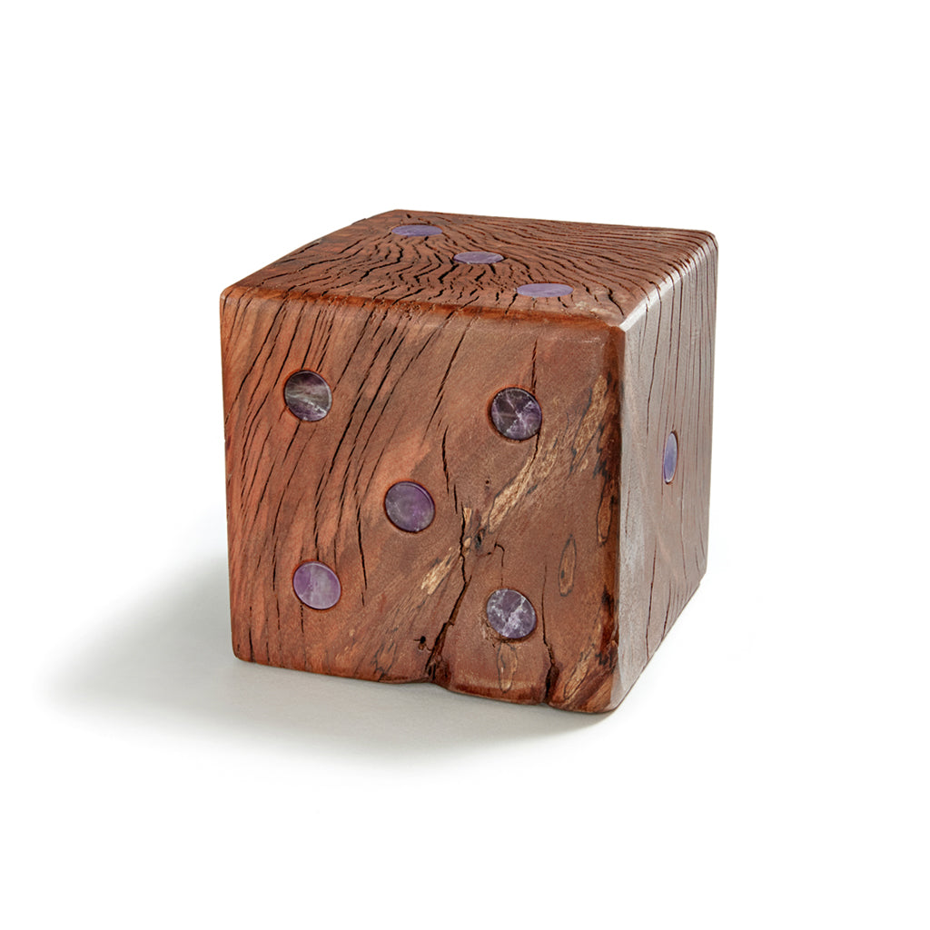 AFORA Cape Amethyst and Wood Dice Bookend