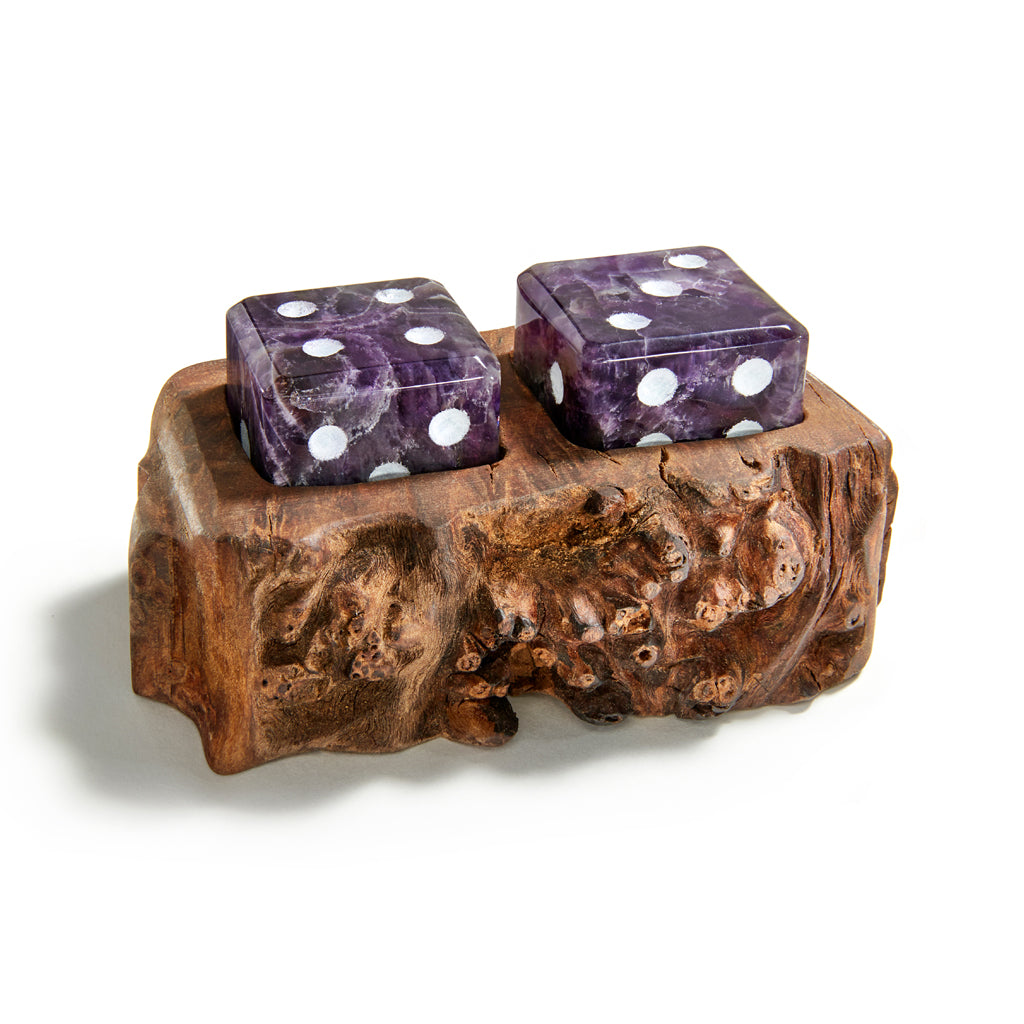 AFORA Cape Amethyst and Wood Dice Set