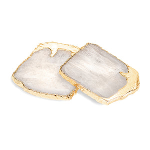 Drip Gemstone Coaster Set Crystal / Gold