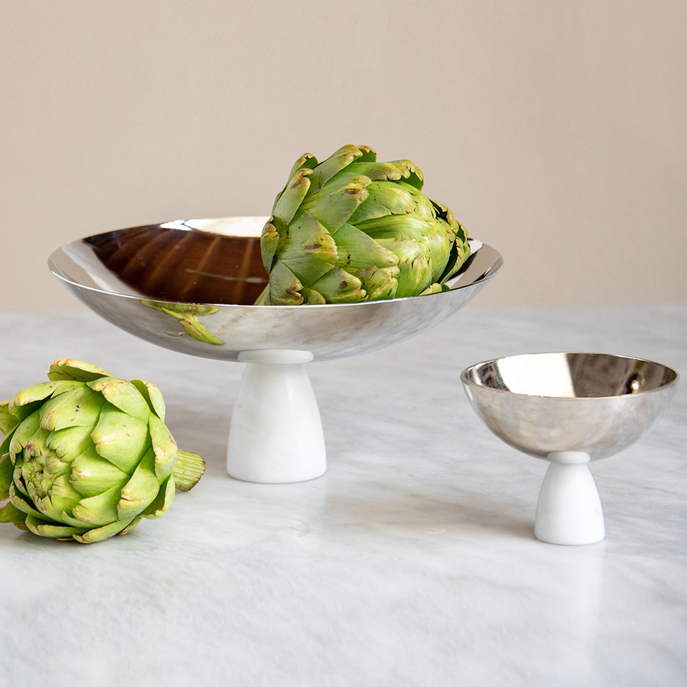 Coluna Nut Bowl Marble & Silver - ANNA New York