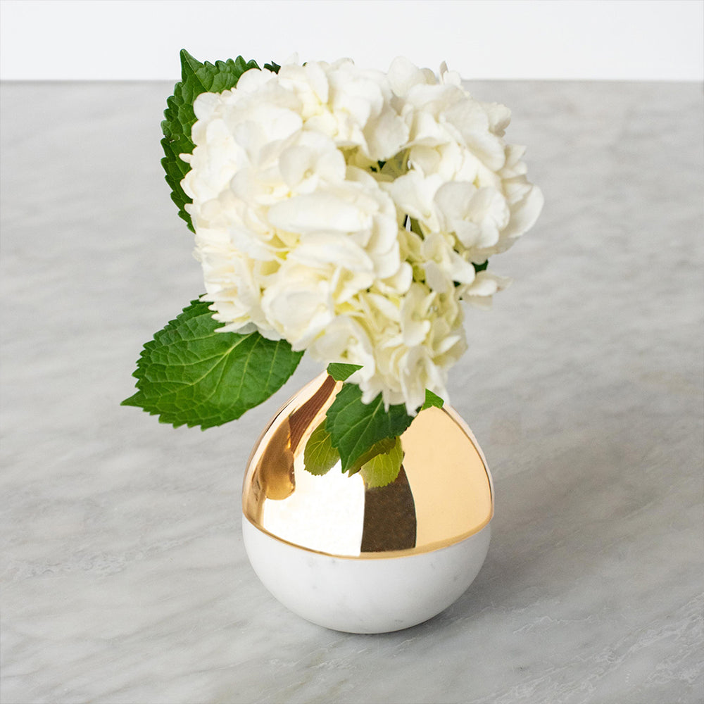 Load image into Gallery viewer, Dual Bud Vase Marble & Gold - ANNA New York