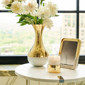 Dual Vase Marble & Gold - ANNA New York
