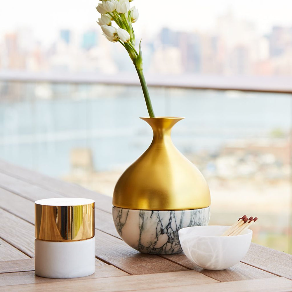 La Cire Candle Alabaster & Gold - ANNA New York