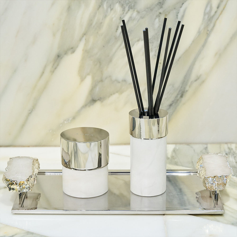 Load image into Gallery viewer, La Cire Candle Alabaster & Silver - ANNA New York