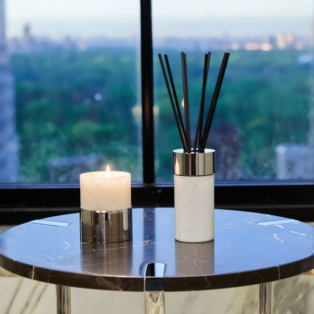 La Cire Candle Alabaster & Gunmetal - ANNA New York