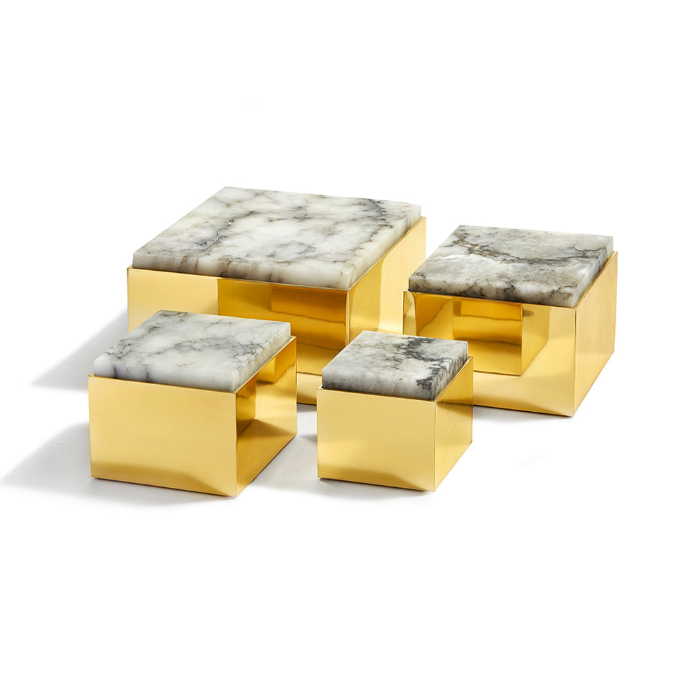 Scatola Box Alabaster & Pure Brass - ANNA New York