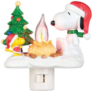 Snoopy By Camp Fire 4.5 Inch Polyresin Swivel Plug Flickering Night Light - lyndaskitchen
