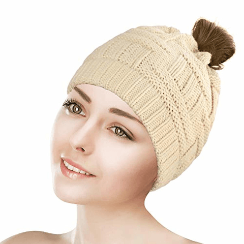 Image of Ponytail Beanie Hat Soft - Tail Warm Winter Hat - lyndaskitchen