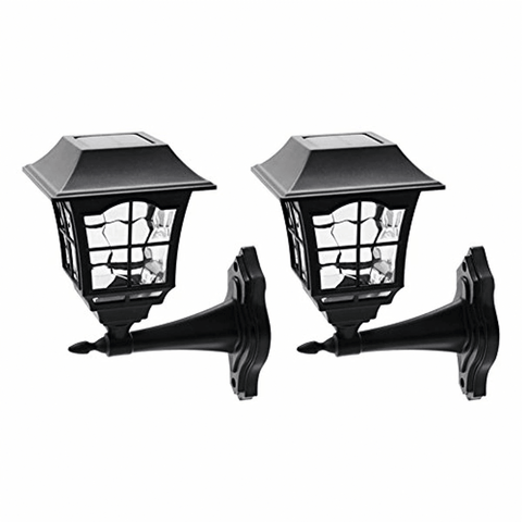 Image of 12 Lumens Solar Wall Lantern Outdoor Christmas Solar Lights Wall (2 Pack) - lyndaskitchen