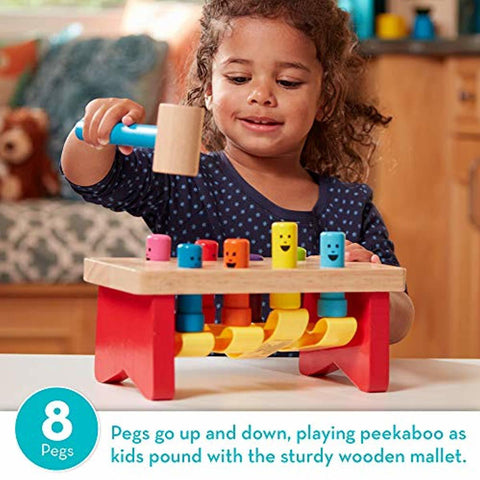Image of Deluxe Pounding Bench Wooden Toy with Mallet - lyndaskitchen