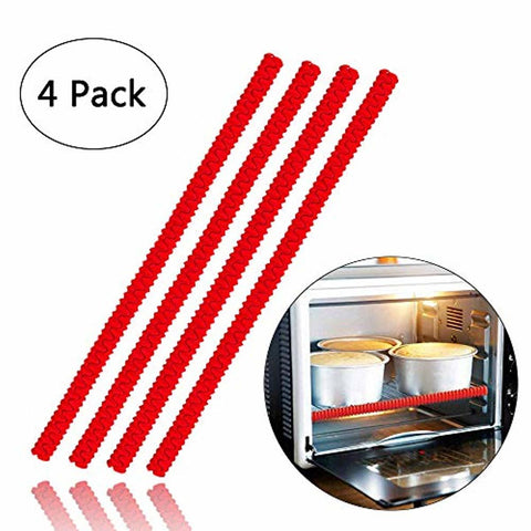 Image of 4 Pack Heat Resistant Silicone Oven Rack Cover 14 inches Long - lyndaskitchen
