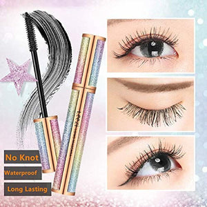 4D Silk Fiber Lash Mascara Black Waterproof (with Eyeliner Stamp) set