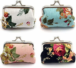 4pc Canvas Floral Coin Purse