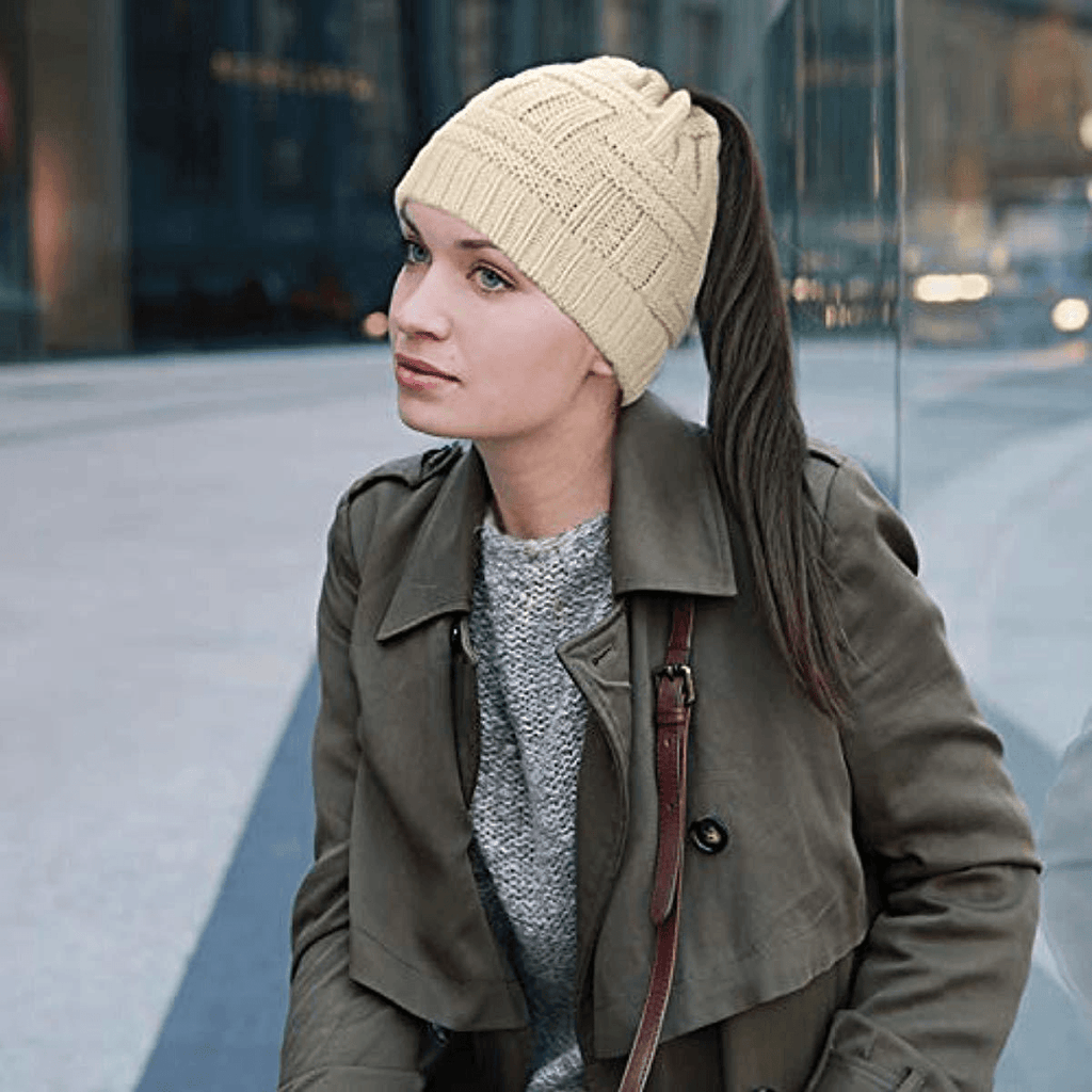Ponytail Beanie Hat Soft - Tail Warm Winter Hat - lyndaskitchen