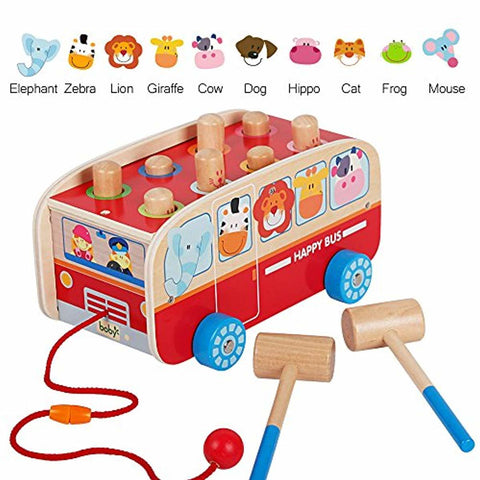 Image of Wooden Pull Along Walking Bus - lyndaskitchen