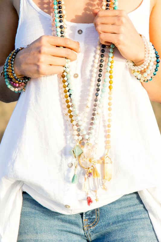 I Flow + Open My Heart to the Process Mala Necklace