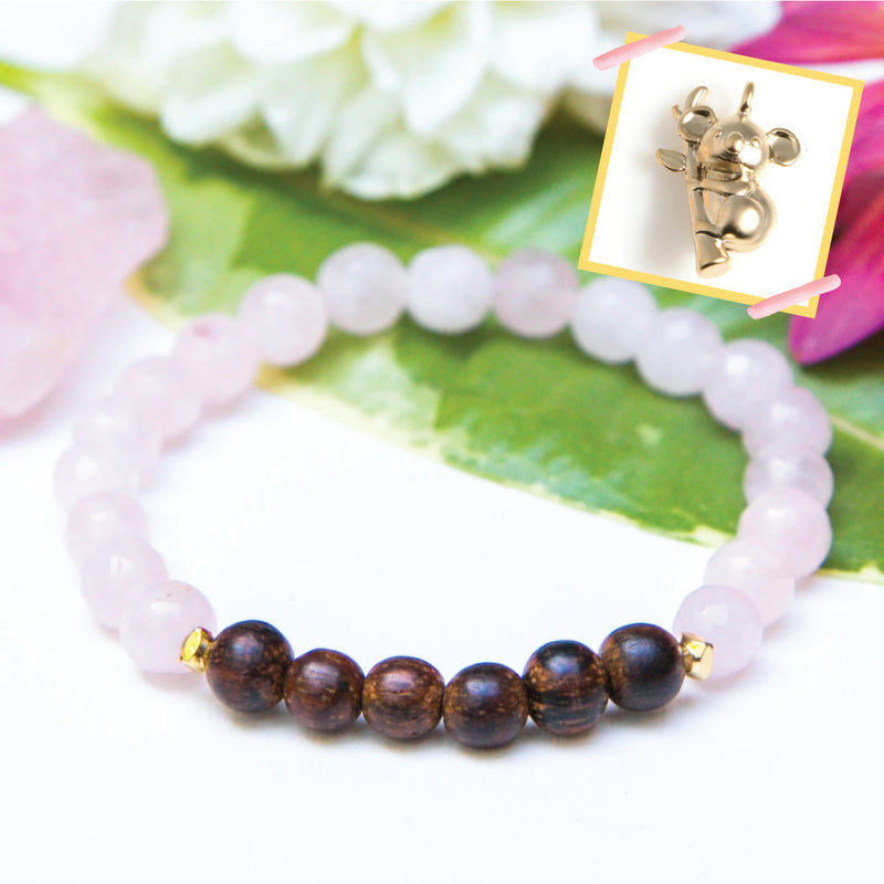 Koala Rose Quartz Diffuser Bracelet (for Australia fire donations)