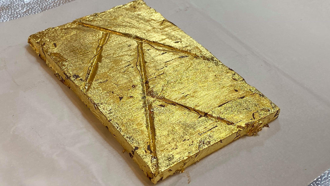 THE FULLY GOLD PLATED BAR - Five Leaf Signature Chocolate Bar - fully plated on 6 sides with layers of REAL 24K GOLD