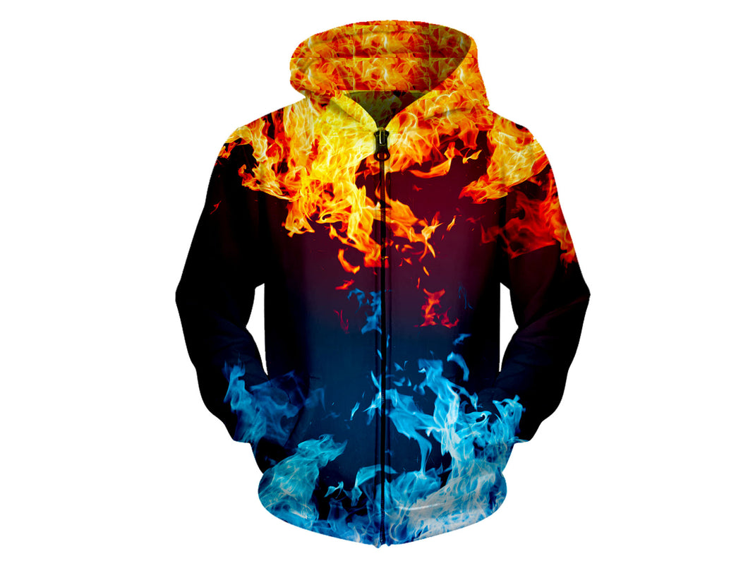 Fire With Ice Zip Hoodie