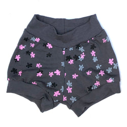 Bamboo Shorts - Grey Strawberry Flowers
