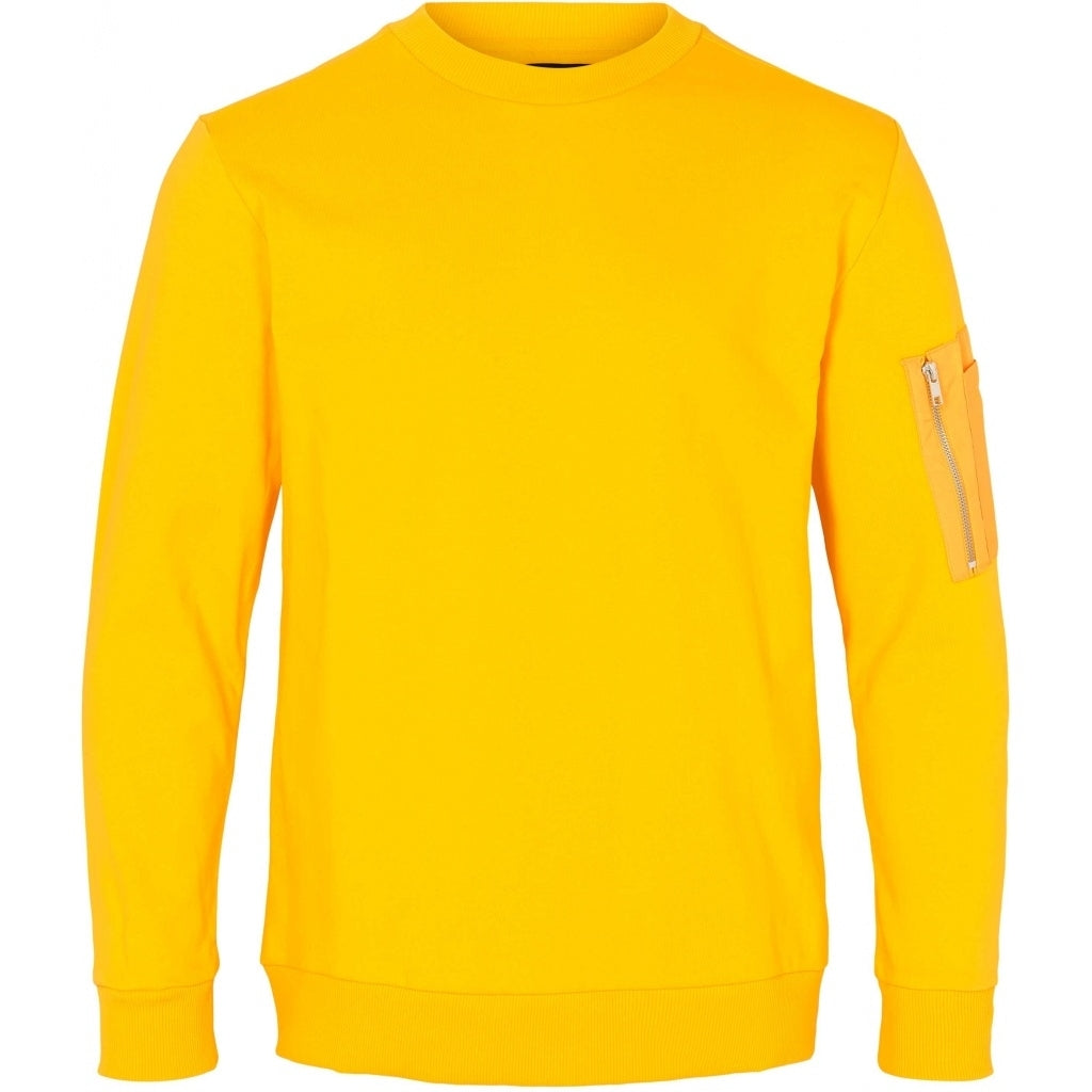 Bruuns Bazaar Men Birk Mash Sweat Sweatshirt Bright Yellow