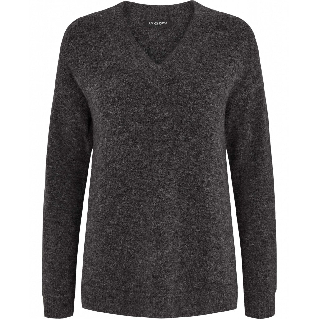 Bruuns Bazaar Women Holly Johanne V-hals trøje Knit Dark grey mel