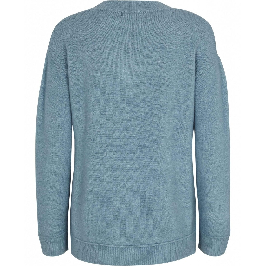 Bruuns Bazaar Women Holly Johanne V-hals trøje Knit Dawn Blue