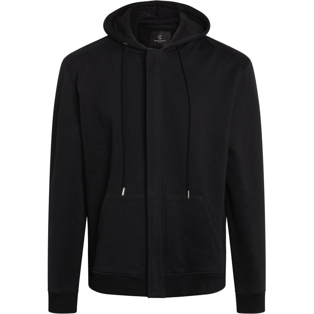 Bruuns Bazaar Men Paul Aaron hidden zip hoodie sweat Sweatshirt Sort