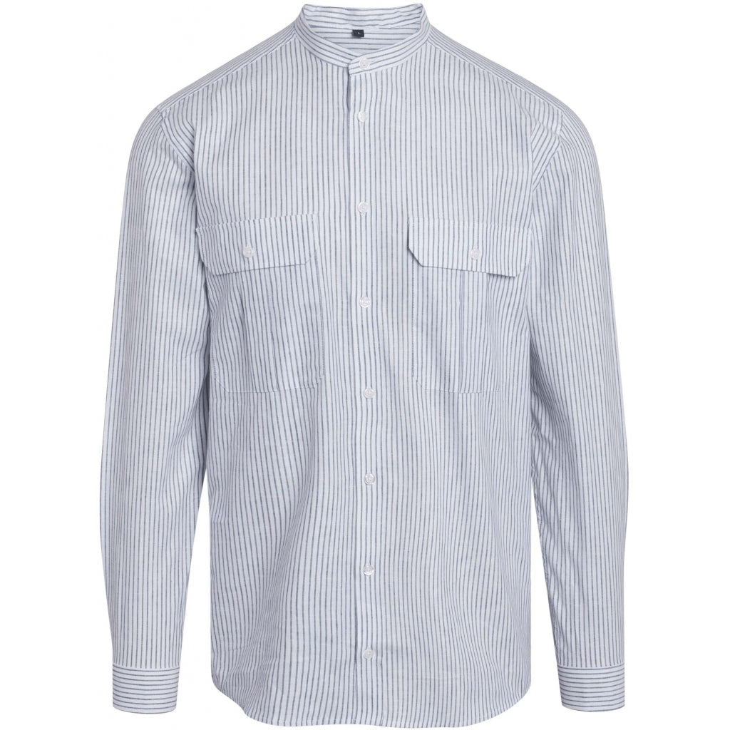Bruuns Bazaar Men Ralf 2 stribed China shirt Shirts Grey Mist Stripe
